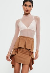 Missguided Brown Faux Suede Frill Detail Mini Skirt Tan