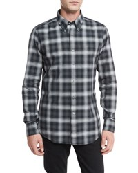 Tom Ford Plaid Oxford Shirt Gray Black