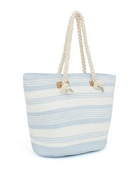 Magid Striped Straw Tote Blue Stripe