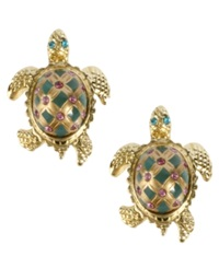 Betsey Johnson Gold Tone Turtle Stud Earrings