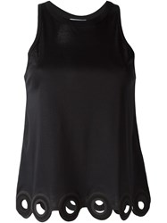 Carven Scalloped Hem Racerback Tank Top Black