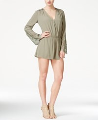 Guess Long Sleeve Cinched Waist Romper Helmut Green