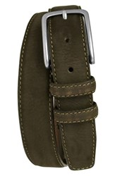 Men's Boconi 'Tyler' Double Stitched Suede Belt Brown
