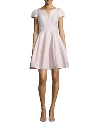 Halston Heritage Tulip Skirt Split Neck Dress Barely Pink Women's Size 4