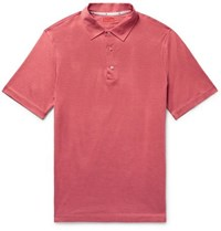 Isaia Silk And Cotton Blend Polo Shirt Red