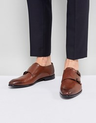 Hugo Dressapp Burnished Calf Leather Double Strap Monk Shoes In Brown Black 001