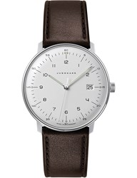 Junghans 041 4461.00 Max Bill Stainless Steel And Leather Quartz Watch Silver
