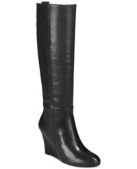 Nine West Oran Wide Calf Tall Wedge Boots Women's Shoes Black Wide Leather