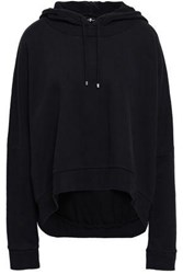 7 For All Mankind French Cotton Terry Hooded Sweatshirt Black