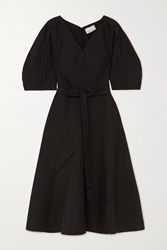 3.1 Phillip Lim Belted Cotton Blend Poplin Midi Dress Black