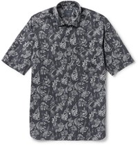 Lanvin Slim Fit Koi Print Cotton Poplin Shirt Charcoal