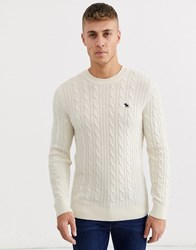 Abercrombie And Fitch Icon Logo Cable Knit Jumper In Cream