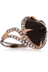 Katie Rowland Dark Forest 18 Karat Rose Gold Plated Onyx And Quartz Ring Metallic