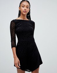 Bershka Long Sleeved Leopard Dress Black