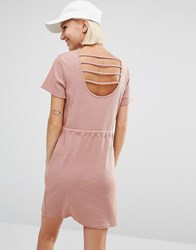 Daisy Street Sweat Dress With Cage Back Rose Pink
