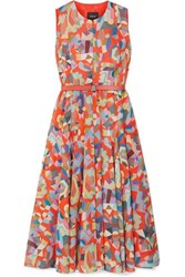 Akris Belted Printed Cotton Midi Dress Orange