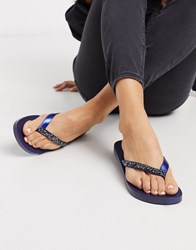 Ipanema Glam Crystal Toe Thong Sandal In Navy