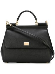Dolce And Gabbana Large 'Sicily' Tote Black
