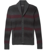 Rag And Bone Shawl Collar Striped Ribbed Cotton Cashmere Blend Cardigan Gray