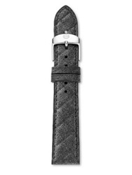 Michele Urban Quilted Leather Watch Strap 18Mm Steel Blue Whisper White Black