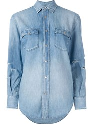 Saint Laurent Distressed Denim Shirt Blue