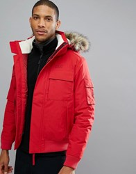 Jack Wolfskin Brockton Jacket With Faux Fur Hood In Red 2210 Indian Red