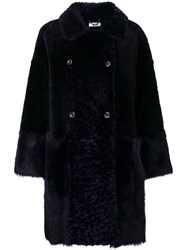 Desa Collection Double Breasted Fur Coat Blue
