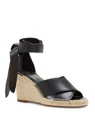 Vince Camuto Leddy Leather Espadrille Wedge Sandals Black