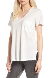 Lush Women's Raw Edge Side Slit Tee White