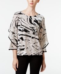 Alfani Tiered Sleeve Blouson Top Only At Macy's Swirl Marble Stone