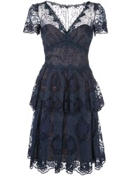 Marchesa Notte Flared Lace Dress Blue