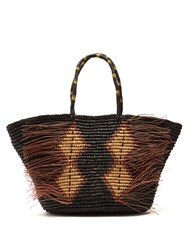 Sensi Studio Toquilla Straw Frayed Tote Black Brown
