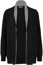 Magaschoni Two Tone Draped Cashmere Cardigan Black