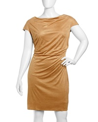 Kay Unger New York Cap Sleeve Draped Suede Dress Women's