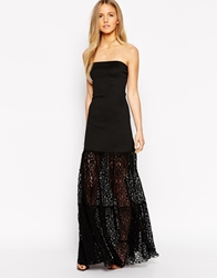 Boulee Stella Lace Strapless Maxi Dress Black