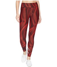 2Xu Mid Rise Print Compression Tights W Storage Tomato Vertical Curve White Workout Red