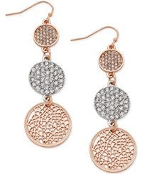 Inc International Concepts Gold Tone Triple Pave Disc Linear Drop Earrings Two Tone
