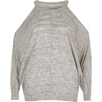River Island Womens Grey Marl Cold Shoulder Batwing Top