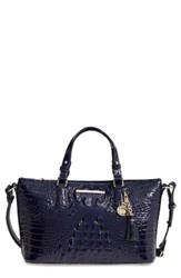Brahmin Melbourne Mini Asher Leather Tote Blue Ink