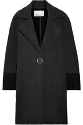 Alexander Wang T By Oversized Two Tone Wool Blend Felt Coat Charcoal