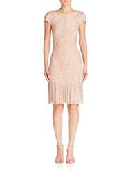 Herve Leger Grommet Detail Fringe Short Sleeve Cocktail Dress Bare Combo