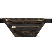 Tom Ford Leather Trimmed Camouflage Print Suede Belt Bag Green