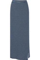 Splendid Striped Cotton Jersey Maxi Skirt Blue
