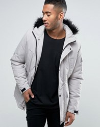 Asos Parka Jacket With Faux Fur Trim In Stone Putty