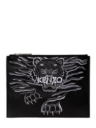 Kenzo Tiger Embroidered Leather Pouch Black