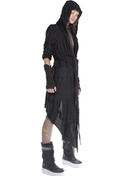 Demobaza Oversized Long Viscose Jersey Cardigan Black
