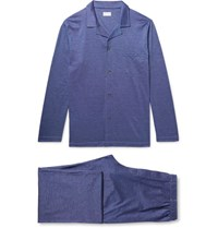 Derek Rose Bari Cotton Jacquard Pyjama Set Royal Blue