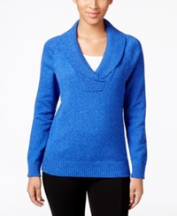 Karen Scott Marled Shawl Collar Sweater Only At Macy's Havana Blue