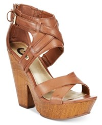 G By Guess Sissta Wooden Platform Sandals Women's Shoes Luggage