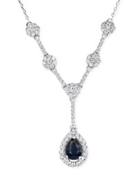 Macy's Sapphire 1 2 Ct. T.W. And Diamond 5 8 Ct. T.W. Lariat Necklace In 14K White Gold